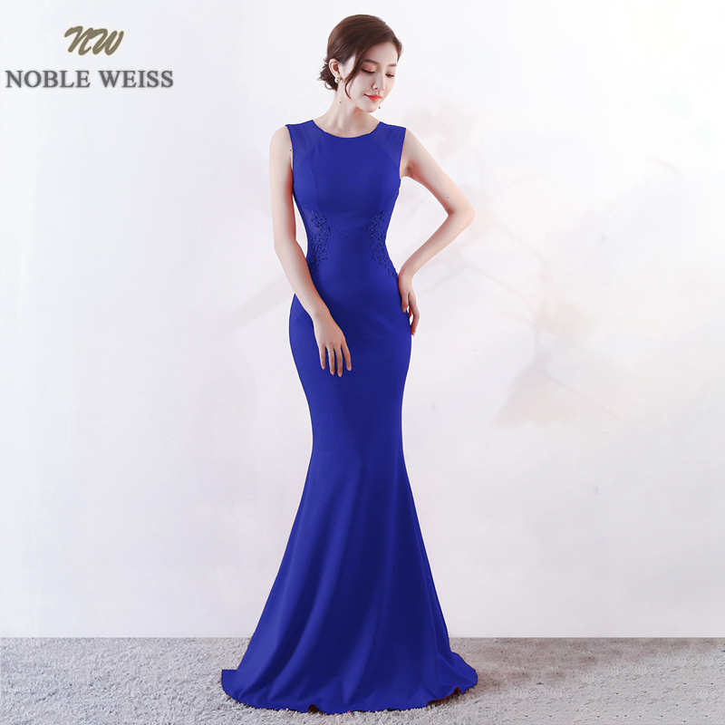 NOBLE WEISS O-Neck Evening Gown 2019 Sexy Cutaway Sides Corset   Prom     Dress   New Arrival Floor Length Evening   Dress