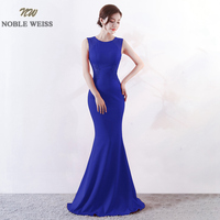 NOBLE WEISS O Neck Evening Gown 2019 Sexy Cutaway Sides Corset Prom Dress New Arrival Floor Length Evening Dress