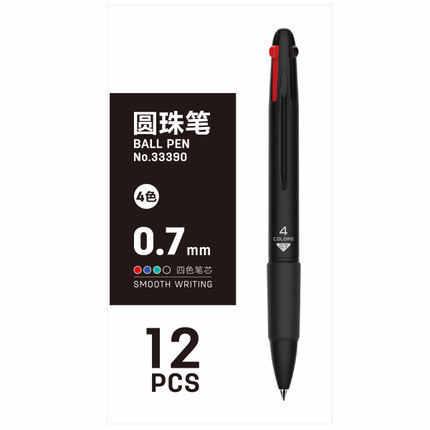 効果的な 33390 ボールペンゲルペン 4 カラープレス学生マーク乾式ボールペンと赤、青グリーンコア卸売
