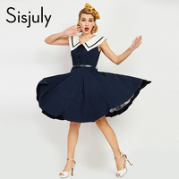Sisjuly Women Vintage Dress 1960s Nautical Style Button Belts Retro Dresses Sleeveless Female Summer Navy Vintage