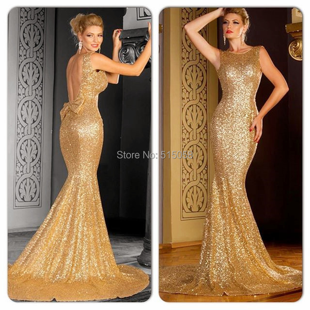Elegant Bow Back Long Gold Evening Dresses Sequins Gowns Mermaid ...