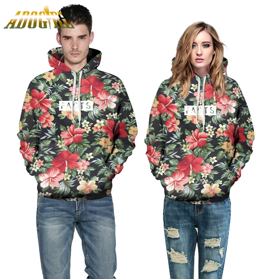 Adogirl Autumn Winter Fashion Women Men Hoodies With Cap Print Red Flowers Green Leaves 3D Hooded Sweatshirts Hooded Tracksuit