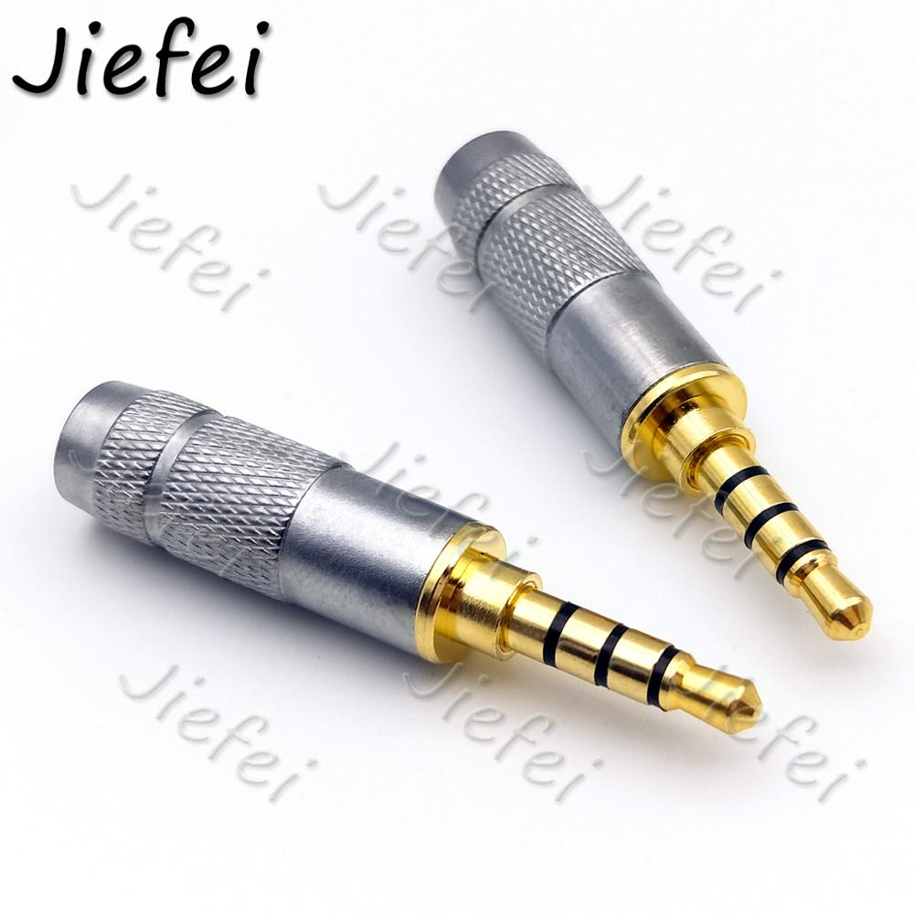 Brass Gold Plated Straight 4 Pole <font><b>3.5mm</b></font> Stereo <font><b>TRRS</b></font> repair Headphone Male <font><b>Plug</b></font> Jack metal Audio with Clip Connector image