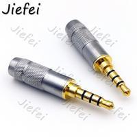 Latão banhado a ouro em linha reta 4 pólo 3.5mm estéreo trrs reparação fone de ouvido macho plug jack metal áudio com clipe conector|Conectores| |  -