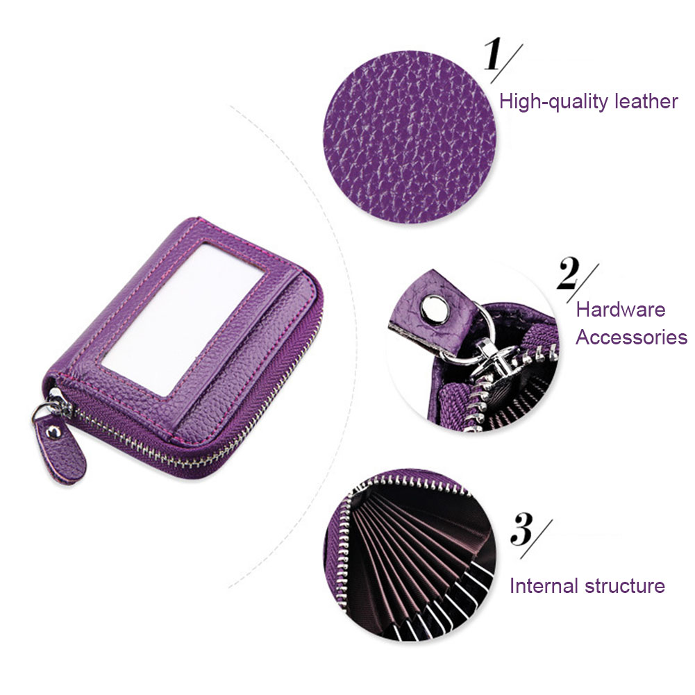 Wallet RFID Cards Holder Genuine Leather Zipper Credit Card Protector ID Cards Window Wallet Bag LT88