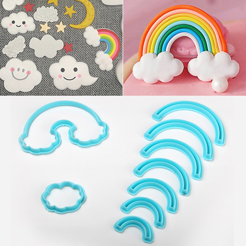 9cps/set Rainbow Cookie Cutter Cake Mold 3D Printed Fondant Cookie Cutter Biscuit Mold For Cake Decorating Tools