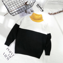 Baby Boys 3-Colors Turtleneck Knitted Sweater Warm Fall Children Clothing 10 Years Girls Knit Pullover Cardigan Kids Winter Top