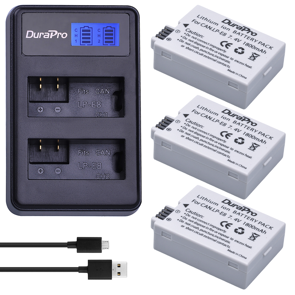 3pc DuraPro LP-E8 LP E8 LPE8 Digital Li-ion Batteria + LCD Dual USB Charger For Canon EOS 550D 600D 650D 700D kiss X4 X5 X6i X7i