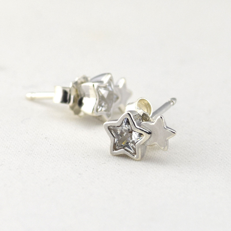 100% 925 Sterling Silver Jewelry Starshine Stud Earrings With Clear Cubic Zirconia Free Shipping100% 925 Sterling Silver Jewelry Starshine Stud Earrings With Clear Cubic Zirconia Free Shipping