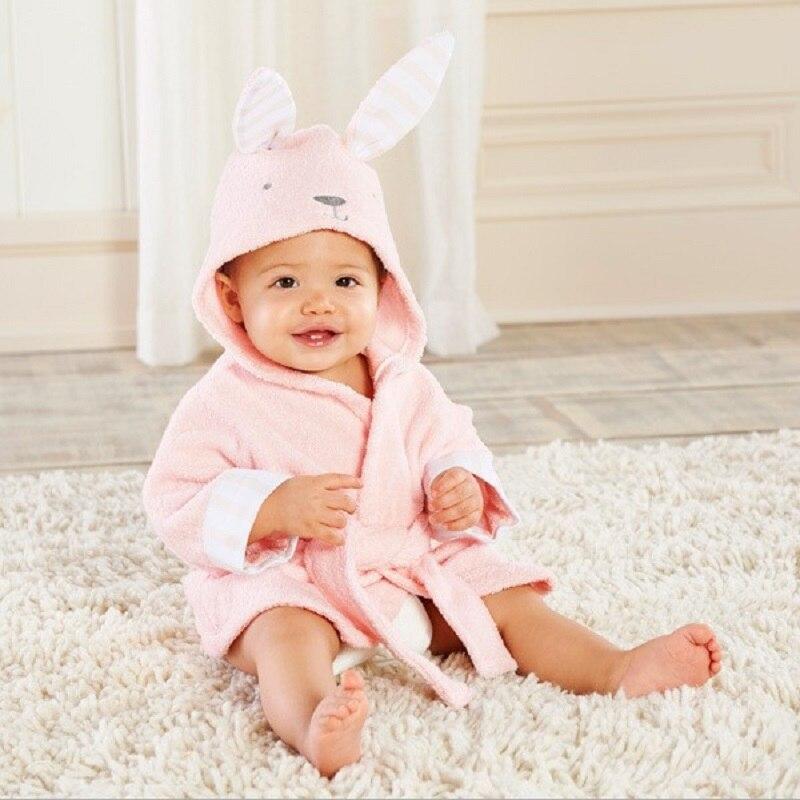 2019 Bunny Baby Bath Towels Terry Newborn Bathrobe Animal Rabbit Children Bath Robe Baby Girl Blanket Hooded Towel Clothes