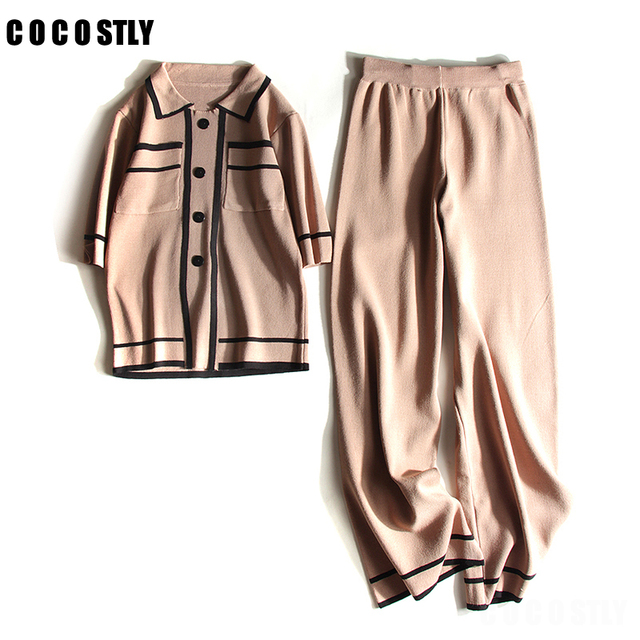 2018 Autumn 2 Piece Set women sweater suits female fashion Knitted cardigan +long wide-legged pants two set