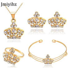 hot deal buy jmiyihz fashion crown shape bridal jewelry sets white crystal crown pendant necklace&earring&bracelet&ring for women jewelry set