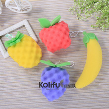 Kolifu cute fruit bath Balls Rich bubbles Body Bath Sponge Shower Brush Wash Scrubber Mesh Soft Puff bathroom Set KLF007