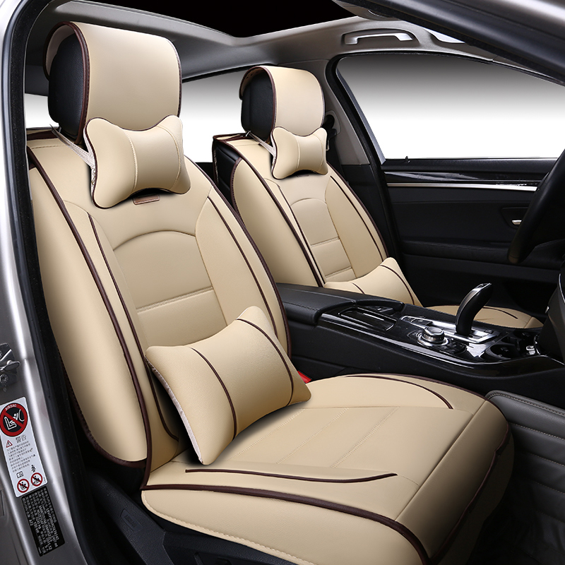 New Luxury Leather Car Seat cover Includes Front and Rear Full Set Universal 5 Seater Four Season Car seat-in Automobiles Seat Covers from Automobiles & Motorcycles    1
