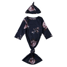 Детская одежда для сна с цветочным рисунком для новорожденных, спальный халат для новорожденных, детские халаты с шапкой