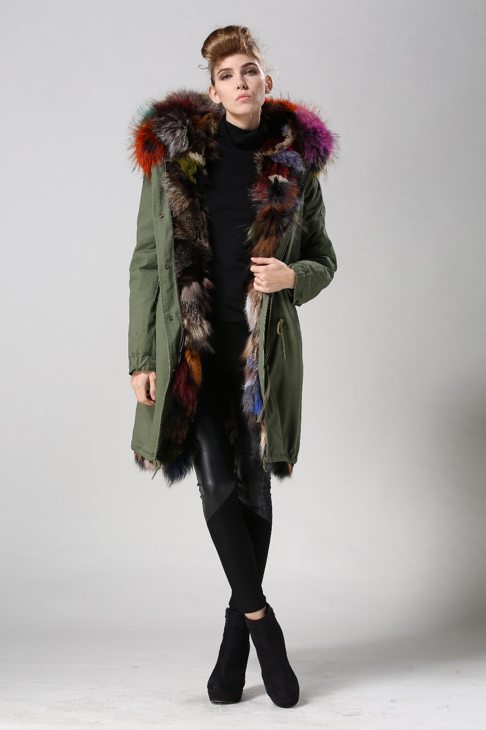 Plus size mr mrs fur 7 colorful Fox fur coats parka real green Fur ...