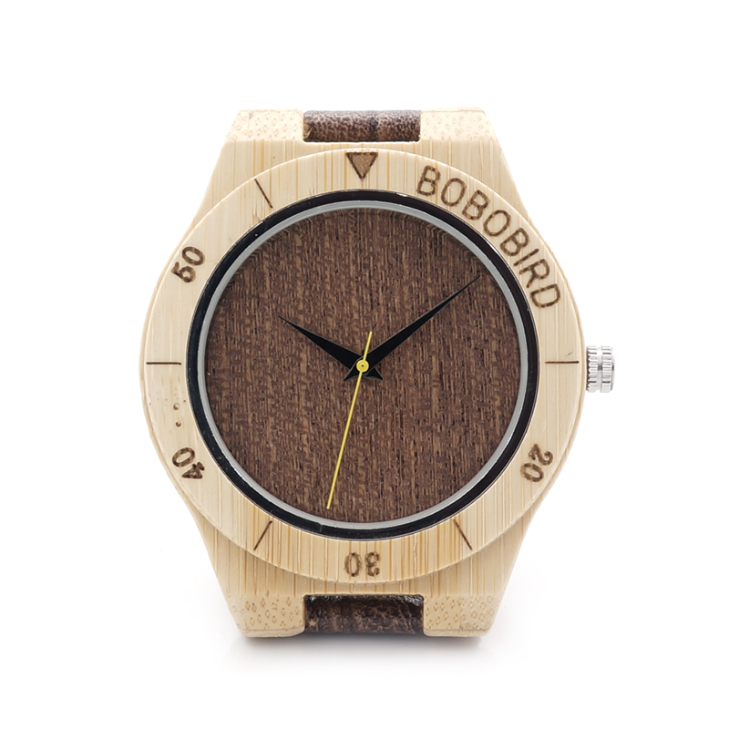 BOBO BIRD Bamboo Wood Men Luxury Top Brand  Analog waterproof Watch With Leather Strap With 2035 Japanese Movement bobo bird high quality new bamboo wood watch case with japanese miyota movement leather strap in gift box for women