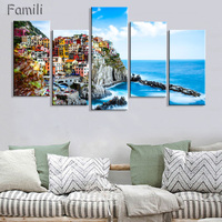 HD 5PCS Wall Art Canvas Fabric Poster Italy Town Landscape Paintings For Living Room Wall Canvas
