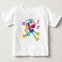 Fashion Cartoon Boys Girls T-Shirts Kids White Cotton T shirts Child Summer Robot Print Tops Clothing shrt Comic robot tshirt MJ