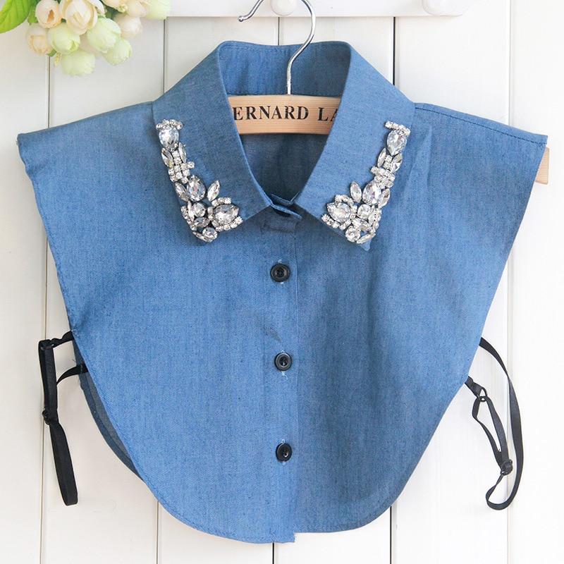 Denim Jeans Big Stones Womens Fake Collar Blue Faux Cols Korean Cowboy Shirt Detachable Shirt Sweater False Collars Wholesale