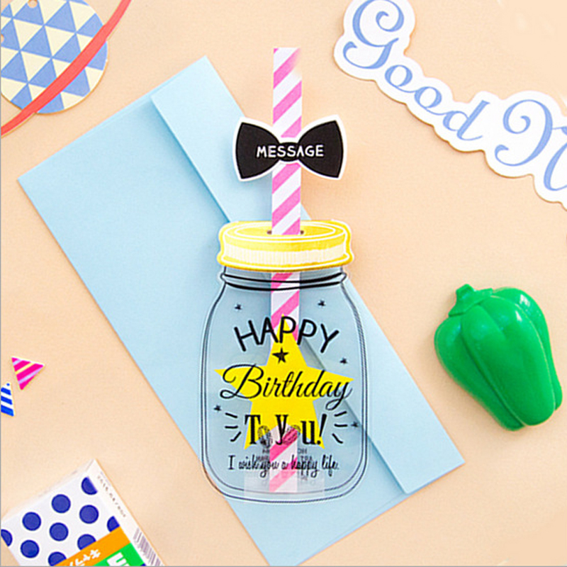 10 pcs/lot Creative Feed Bottle Envelope Paper Novelty Happy Birthday Greeting Message Letter Card Postcard Gift