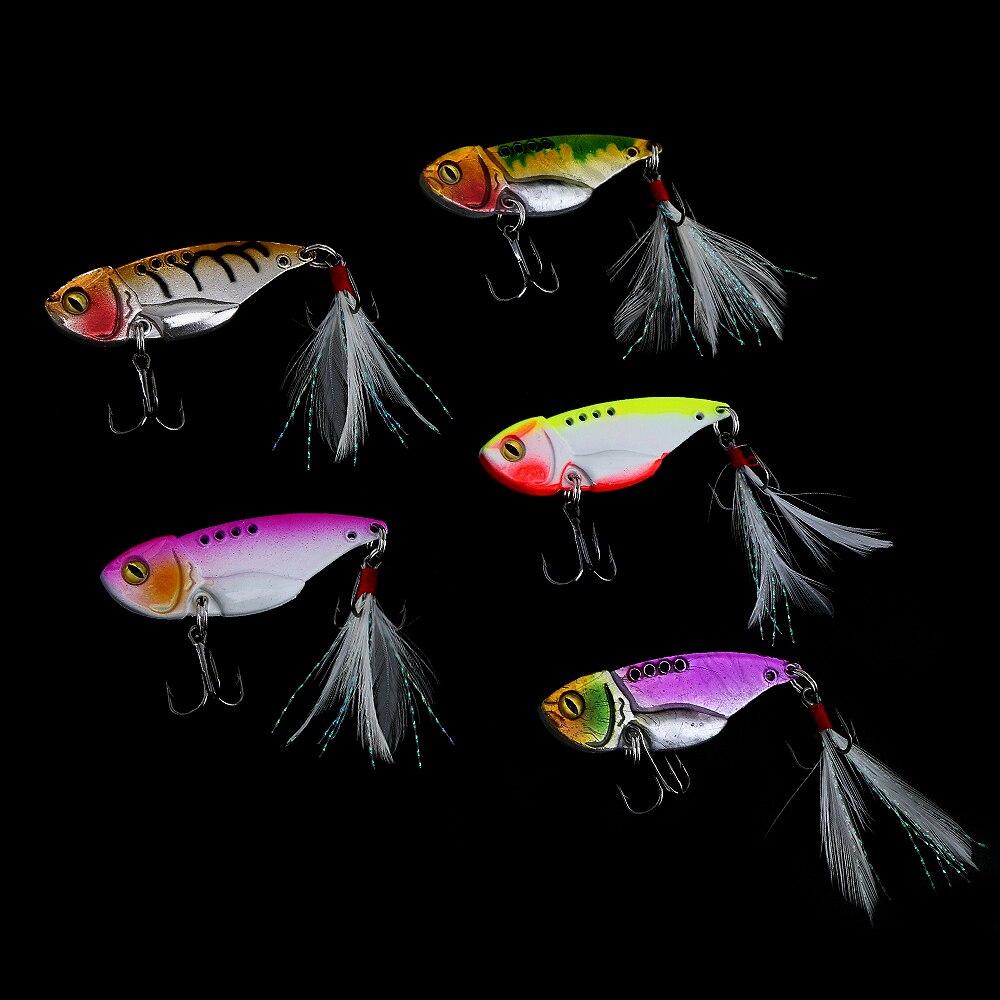 5pcs 12g Fishing Lures Crankbait Spoon Blade Metal Baits Treble Hooks