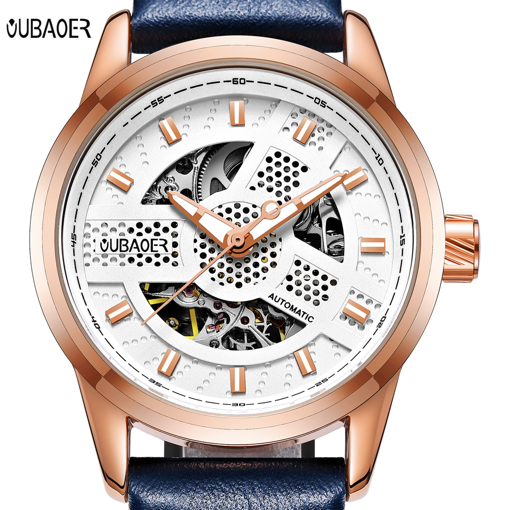 Men watches Automatic Mechanical OUBAOER Brand Watch Men sport Military Wrist watches Man Leather strap Black Clock Relojes oubaoer fashion top brand luxury men s watches men casual military business clock male clocks sport mechanical wrist watch men