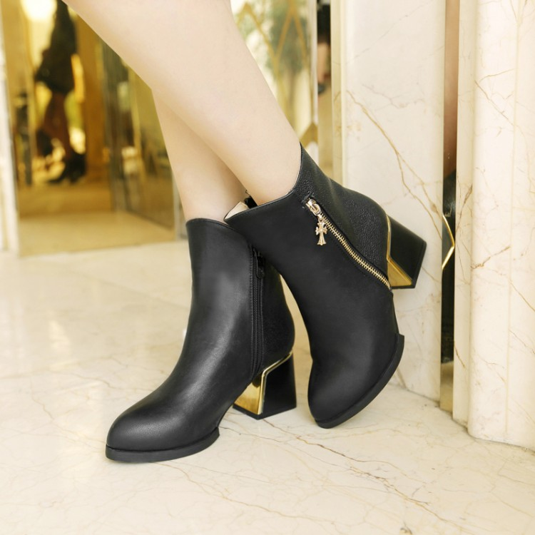 ФОТО Fashion hot-selling side zipper thick heel boots female high-heeled shoes small yards 33 40 - 43 plus size boots free shipping