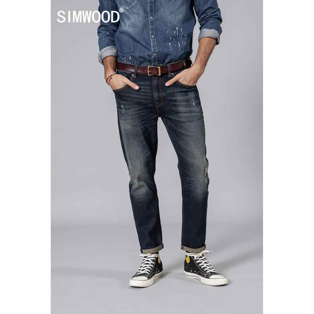 SIMWOOD 2019 autumn new fashion ripped jeans men hole denim trousers male high quality slim fit jean brand clothing 190024