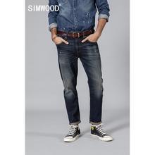 SIMWOOD 2020 wiosna nowy mody dżinsy zgrywanie mężczyźni dziura denim spodnie męskie wysokiej jakości slim fit jean odzież marki 190024