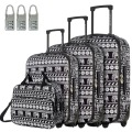 "DAVIDJONES  4 Piece Luggage Set 20"" 24"" 28"", vintage print WomenTravel Bags Trolley rolling suitcase 13 inch makeup bag"