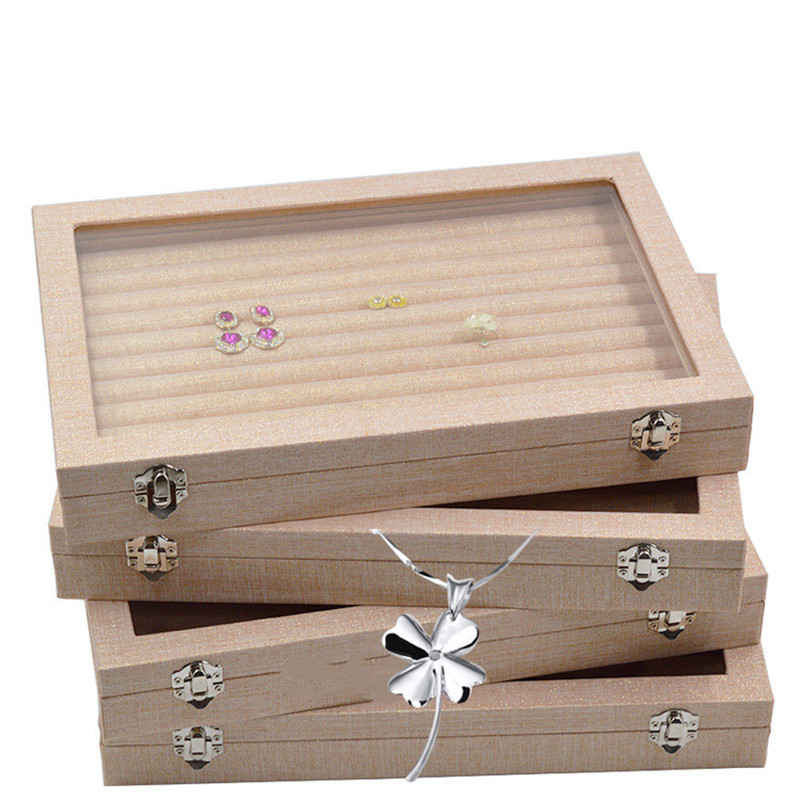 Linen Handbag With Glass Cover Jewelry Ring Display Box Tray Rack Storage Box Organizer Earrings Ring Bracelet