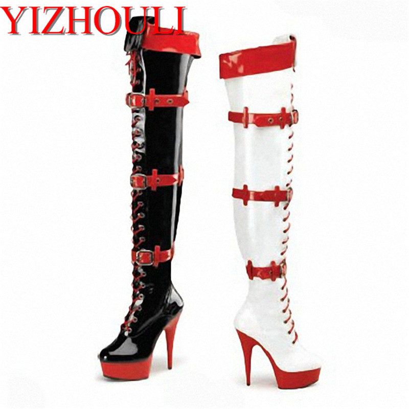 sexy clubbing 15cm Platforms stiletto boots Fashion pole dancing 6 inch Over The Knee Boots women motorcycle boots sexy clubbing pole dancing knee high boots 6 inch high heel shoes winter fashion sexy warm long 15cm zip platform women boots