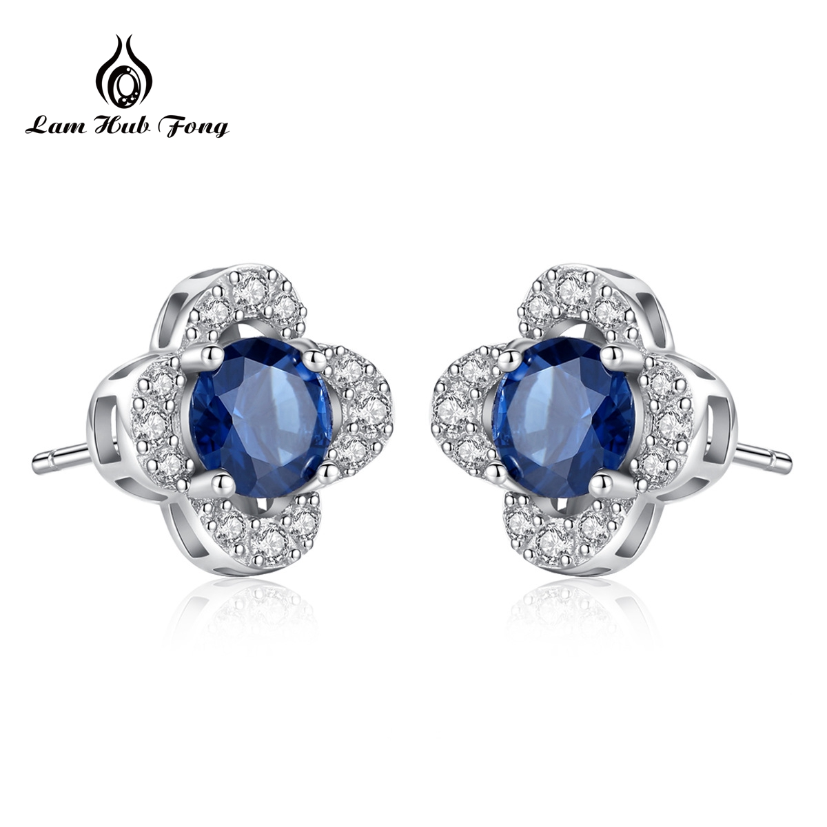 Blue Topaz Earrings Flowers Fine-Jewelry Gemstone Silver Natural S925 Women for Party