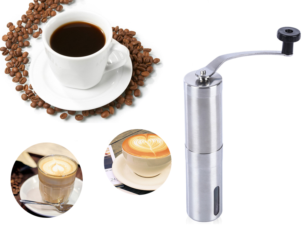 Portable Coffee Grinder Stainless Steel Ceramic Burr Hand Crank Manual Coffee Grinder for Coffee Lovers Mini