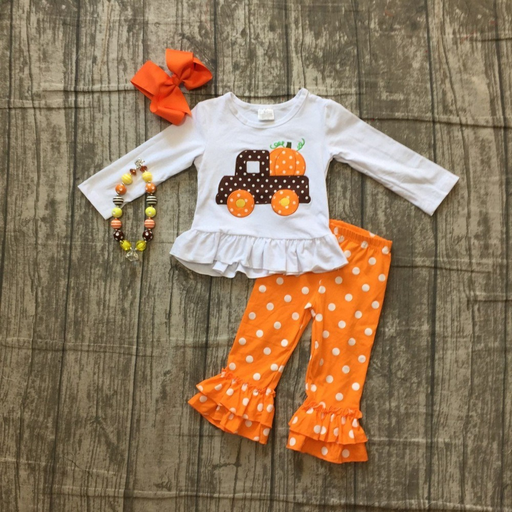 Fall/Winter outfit Halloween clothing truck pumpkin white polka dot embroidered long sleeves top orange pant match accessories polka dot wrap cami top