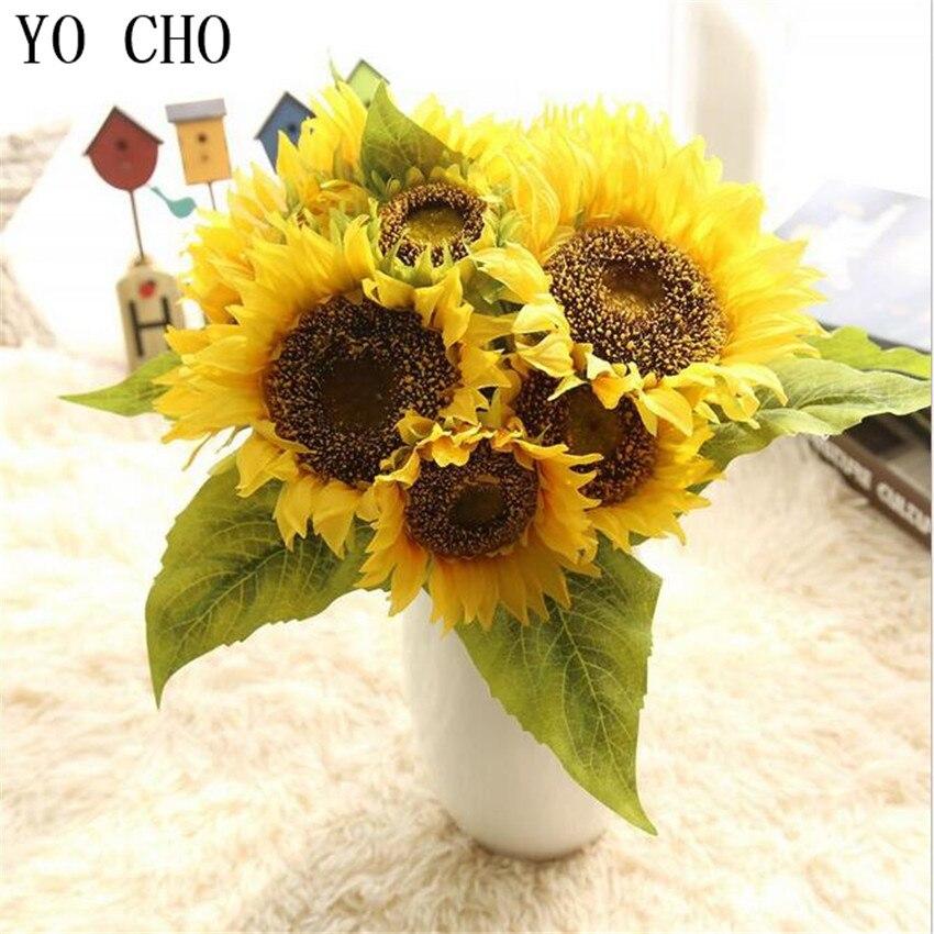 YO CHO artificielle tournesol décoration de mariage maison pivoine Fleurs fête soie faux 7 têtes Eustoma Fleurs Hogar noël plantes