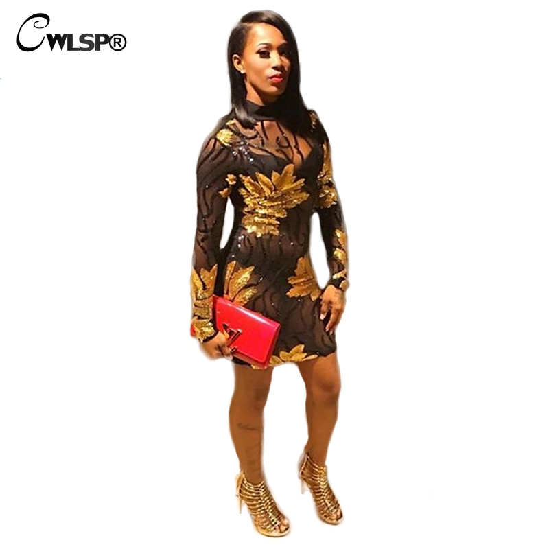 Buy Cheap CWLSP Sexy Black Mesh Perspective Dress Womens Spring Long Sleeve Sequined Bodycon Mini Dress 2017 Club Dress Vestiods QZ1955