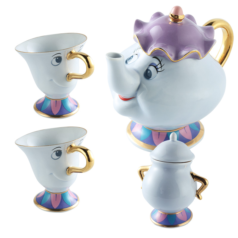 Limitierte Auflage Cartoon Beauty And The Beast Teekanne Becher Mrs. Potts Chip Teekanne und Tasse Set Bestes Geburtstagsgeschenk für Freund.