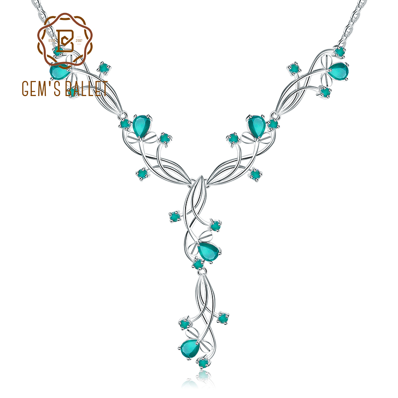 GEM S BALLET Fine Jewelry 5 87ct Natural Green Agate Bridal Necklace For Women 925 Sterling