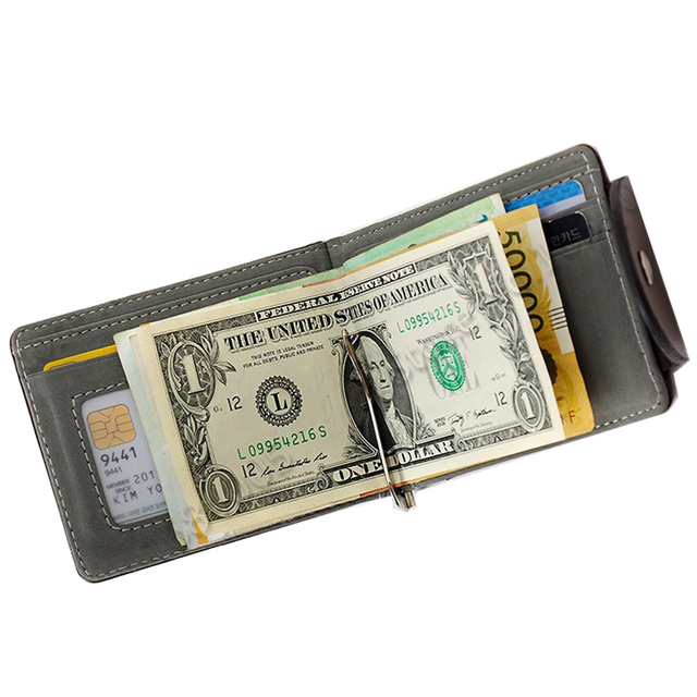 PU Leather Men Money Clips With Stainless Steel Clip Male Wallets With 2 Folds ID Credit Card Bag -- 01BID128 PR49