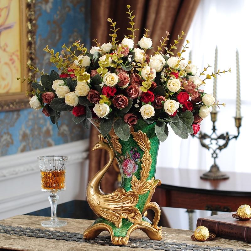 Resin Restoring Ancient Ways Continental Vases Peacock Luxury