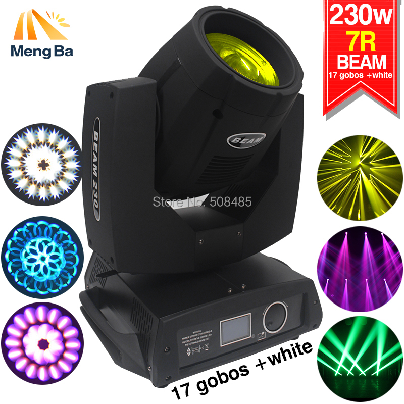 230w 7R Beam Light DMX512 Moving Head Light 17Gobos+14 colors with white 16CH Stage Light DJ /Bar /Party /Show /Stage equipment