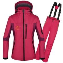 DHL Free Shipping 2016 Winter Ski Jacket Women Outdoor Waterpoof Windproof Warm Snowboarding Jackets + Pants Women ski suit set