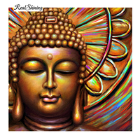 REALSHINING Full Square 5D DIY Diamond Painting Crystal Diamond Painting Cross Stitch Gold Buddha Needlework Home