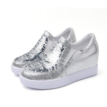 New Style Women s Sequins Sneakers Height Increasing Outdoor Sport Shoes  Female Wedges Trainers Slip-on a73ddbf91107