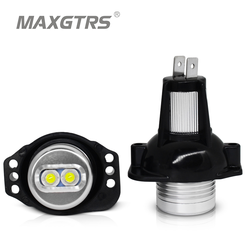 2 deler (1 sett) 2 * 6W 12W LED Marker Angel Eyes for Bridgelux Chip 6000K hvit rødblå pære til BMW E90 E91 3-serie