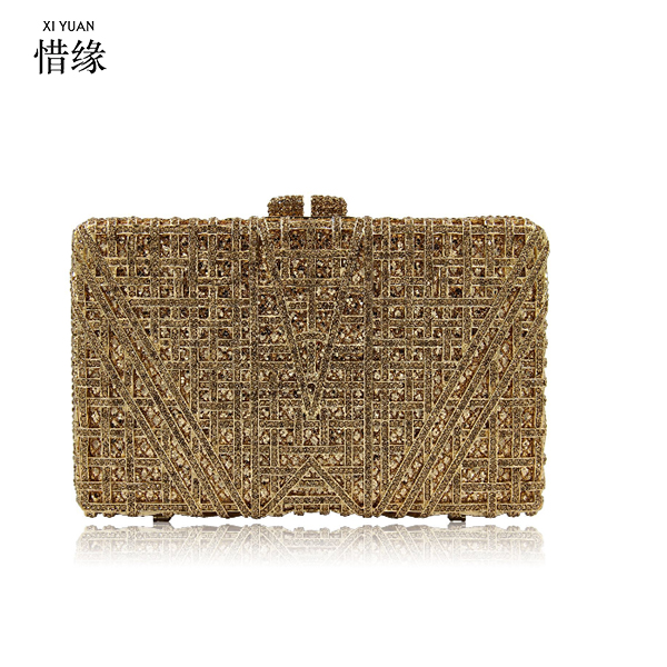 XIYUAN BRAND Classic designer Clutch bags jeweled Luxury crystal ladies Evening Bags cocktail dinner bag women handbags goldXIYUAN BRAND Classic designer Clutch bags jeweled Luxury crystal ladies Evening Bags cocktail dinner bag women handbags gold