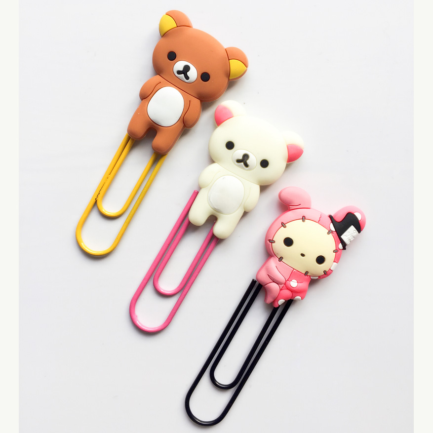 Strong-Willed 1x Kawaii Large Rilakkuma Rabbit Soft Pvc Head Paper Clip Bookmarks Marker Of Page Student Stationery School Office Supply Gift Labels, Indexes & Stamps Bookmark