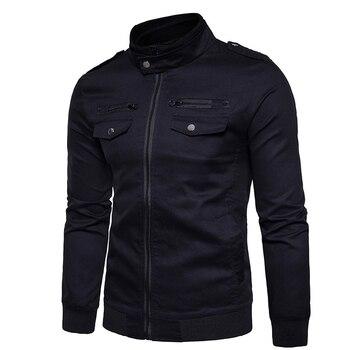 Casual Solid Color Winter Bomber Jacket Men 2018 Men Slim Black Long Sleeve Coat Zipper Khaki Windbreaker Warm Men's Jacket